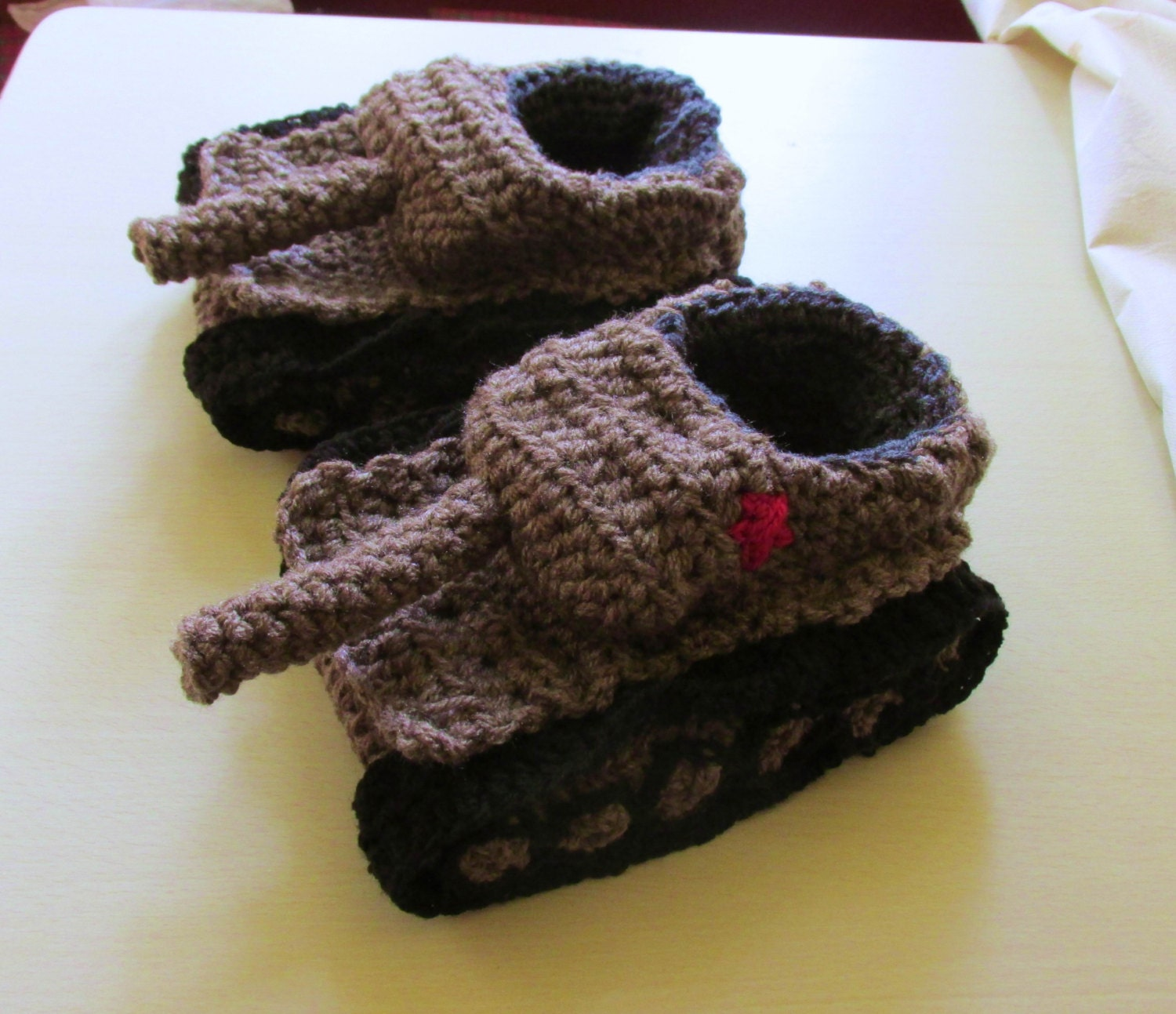 Knitting Pattern For Army Tank Slippers : Tank slippers crochet tank Slippers panzer slippers Panzer