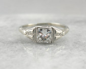Art Deco Engagement Ring with Modern Square Cut Diamond, Excellent Quality ZKNUKK-N