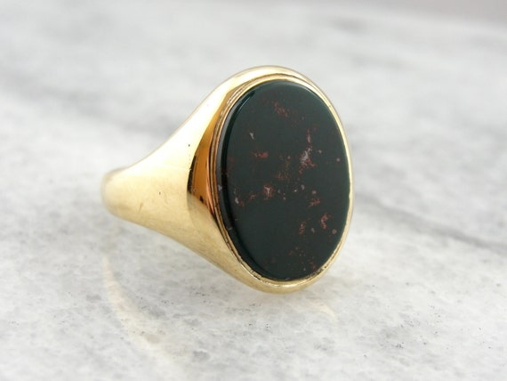 Vintage Bloodstone Simple Mens Ring Plain and by MSJewelers
