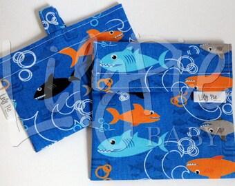 Reusable Sandwich Bag & Reusable Snack Bag Set in SHARKS print - Velcro - ECOfriendly - Food Safe - Dishwasher Safe - Back to School