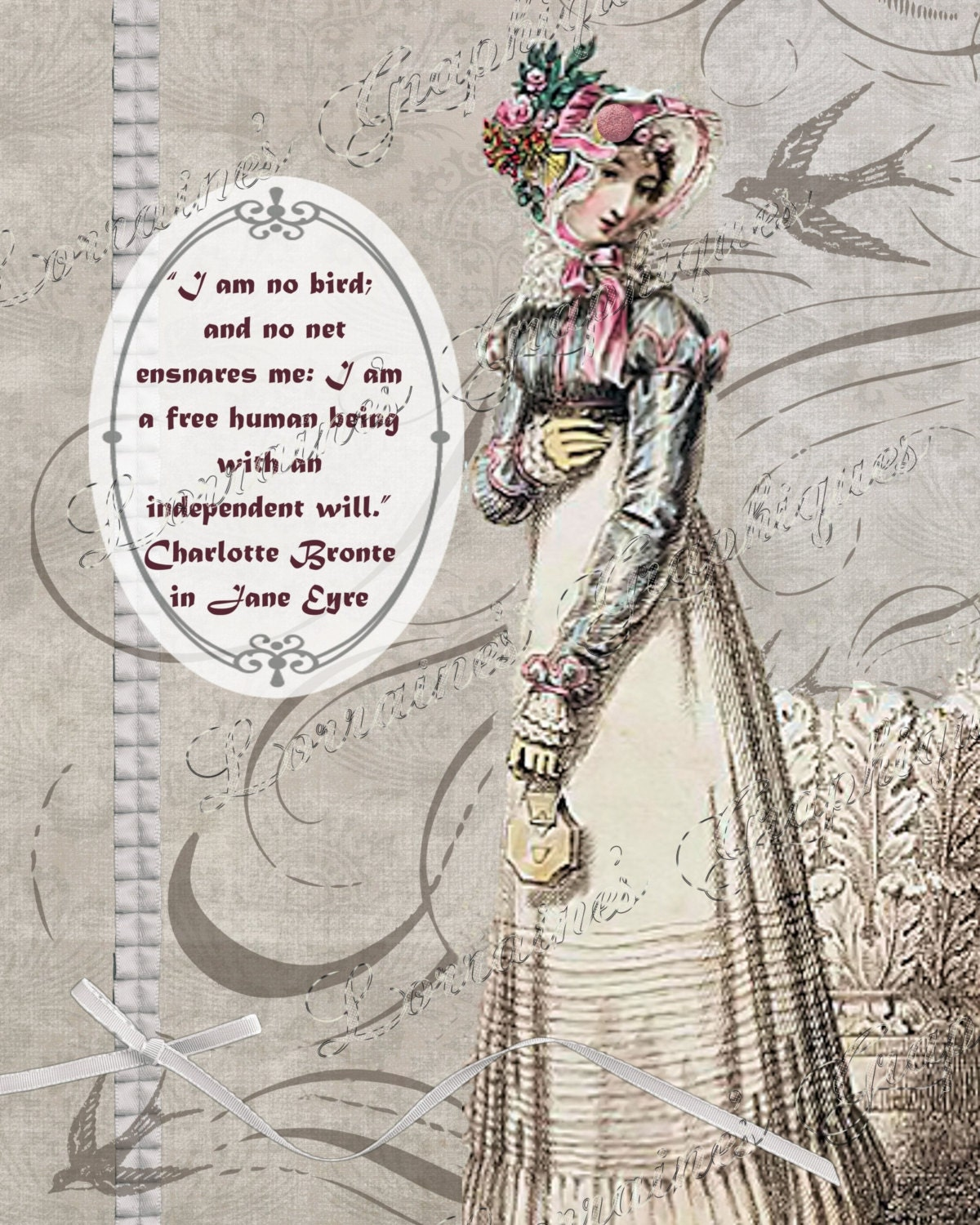 Jane Eyre Quote Regency Fashion Inspired Digital Collage