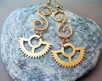 Steampunk Earrings Copper and Gears - wire wrapped jewelry handmade - Copper Jewelry - wire wrapped Earrings handmade steampunk jewelry