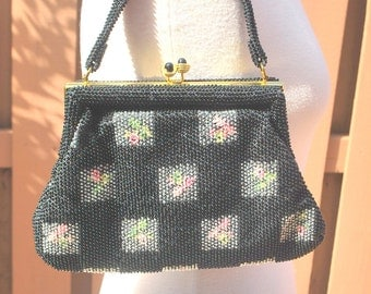 Vintage Black Embroiderd Flowers Lumured Petite Bead Purse Handbag with matching coin purse.