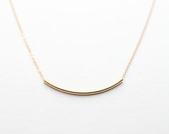 Curved Bar Necklace / Delicate Long Gold Bar Necklace / Dainty Gold Layering Necklace by Layered and Long LN303