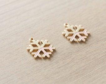2 pcs of Pastel Pink Christmas Snowflake Enamel Gold Plated Zinc Alloy Pendants - 20 mm