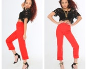 VTG 90s Red High Waist Pants