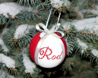 Christmas tree ball ornament personalized ball natural linen covered with cross stitch name