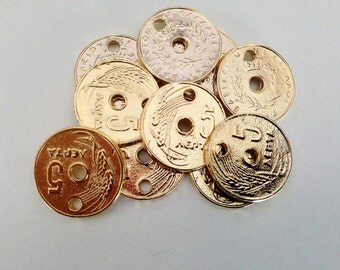 10 Greek Old Coins, Greek Coin Charms, 5 Cents Gold Coin Replica, Jewelry Making Parts, Steampunk, DIY projects