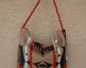 Red Leather Purse Hand Bag With Tribal Patterned Oregon Wool