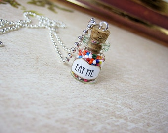 Alice in Wonderland EAT ME 0.5ml Glass Vial Bottle Necklace - Looking Glass Eat Me Drink Me Christmas Pendant