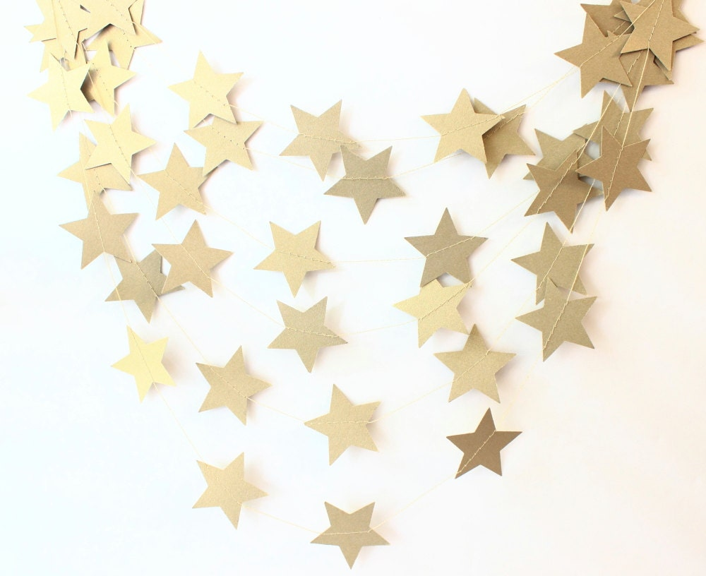 Gold star ornaments - Twinkle Twinkle Star Garland Gold Shimmer Star Garland Christmas Party Decor Holiday Decor
