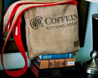"Repurposed Jute Coffee Sack Messenger Bag - ""Coffein"" by FanGirl. SuperHero."