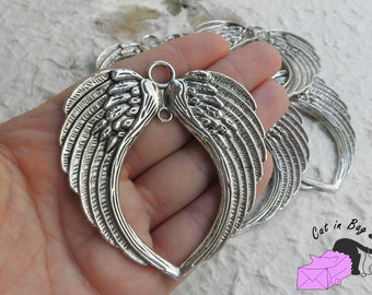 1 Charm Angel's Wings - antique silver tone - SP40-17