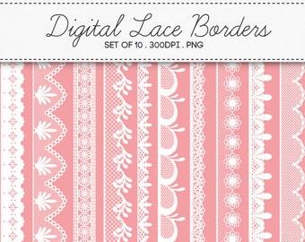 Digital Lace Borders Frames / INSTANT DOWNLOAD / Clip Art Set of 10 / 139