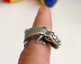 925 Sterling Silver Ring Crocodile Ring Pure Solid Silver Animal Ring COOL Silver Ring, Best Offer, Best Price and Gorgeous Style