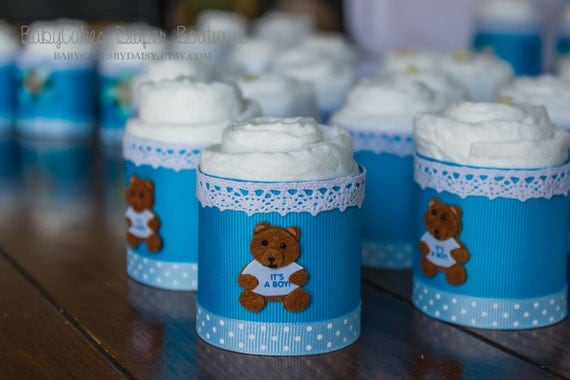Diaper Cupcakes - Baby Boy Shower Gift - Mini Diaper Cake - Baby Boy Baby Shower - Baby Shower Favors - Its a Boy - Baby Cakes