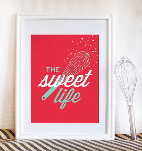 kitchen art print. Dessert inspired. red home decor. baking. The sweet life with whisk