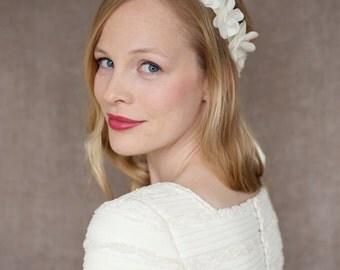 Wedding silk flower headband, silk bride headband-Isabel