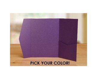 "5"" x 7"" Pocket Fold Invitation Holder, Quantity of 10 - Pick Your Colour DIY Wedding Invitation Supplies"
