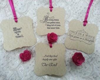 100 WISH TREE TAGS Fairytale Styles  Adorned With Fuchsia  Pink Satin Ribbon