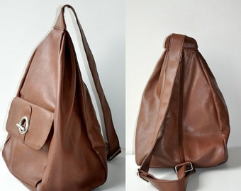 Vintage Brown Fake Leather Mini Backpack