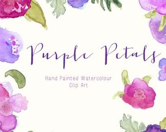 Watercolour Flowers - Hand Painted Clip Art - Purple Petals