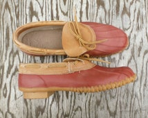 80s Gardening Boots - Vintage 1980s Red Rubber Rain Boots - Vintage Slip On Sporto Duck Boots