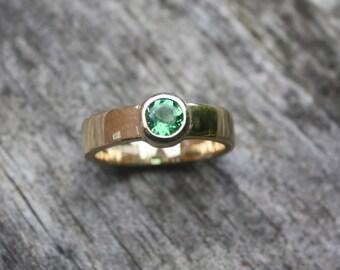 Yellow Gold & Tsavorite Engagement ring  - Bespoke Example