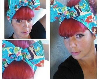 Mermaids Headwrap Bandana Hair Big Bow Tie 1940s 1950s Vintage Style