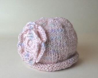 Premie Hat Pink, Flower Premie Hat, Pink Premie Beanie, Premie Flower Beanie, Premie Hand Knit Hat, Premie Pink Knit Hat, Cotton Premie Hat