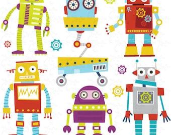 "Robots Clipart Pack ""CUTE ROBOTS"" digital clip art, Cute Robots, Robots, Funny Robot perfect for scrapbooking, invitations, party card Rb002"