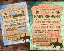 Vintage Western Baby Shower Invitation - Cowgirl - Cowboy - Baby Shower - Digital File