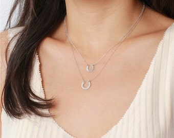 Hammered layered lucky horseshoe charms - sterling silver necklace - simple layering jewelry