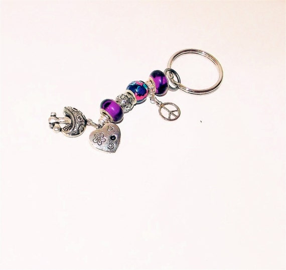 "SALE-Purple Psychedelic European Style Beaded Keychain.Fun Global Peace,Love,Heart & Magical ""Alice In Wonderland"" Style Mushroom Charms"