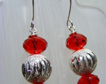 Red and Silver Earrings