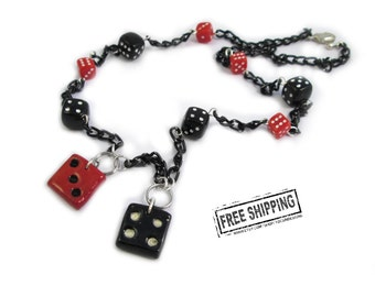 Rockabilly jewelry - Lucky 7 Dice Necklace - dice jewelry  - retro pinup jewelry - gambling charms - casino jewelry - geekery - psychobilly