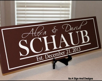 Engagement Gifts for Couple, Personalized Family Name Sign, Custom Wood Plaque,  Real Estate, Family Established Sign, Bridal Shower Decor