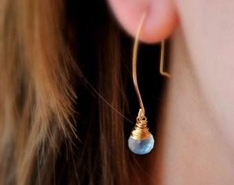 Pale Blue Dangle Earrings - 14k gold or sterling silver