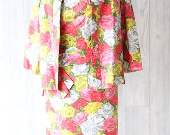 Vintage 1950s floral cotton dress with matching jacket