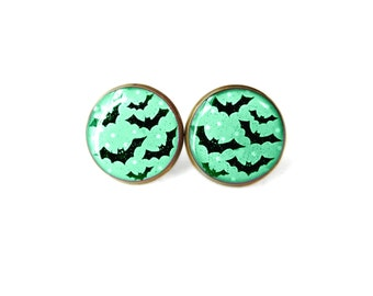 Pastel Goth Mint Green Earrings with Bats and Polka DOts Stud Earrings - Pastel Goth Pop Culture Jewelry