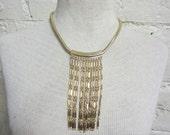 SALE!! 70s Disco Gold Snake Chain Tassel Fringe Sexy Long Choker Statement Necklace Boho Long Tassels Egyptian Revival Cleopatra