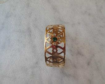 Unusual vintage green rhinestone cuff bracelet
