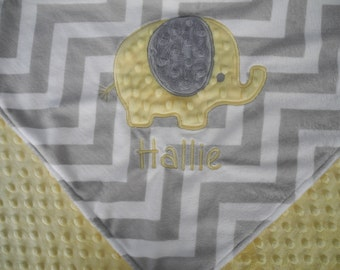 Personalized Baby Blanket, Yellow Elephant on Grey Chevron Minky Baby Blanket, Custom Blanket, Made to Order
