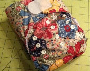 Sale! Medium One Size Diaper in Free Spirit floral Print