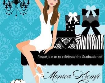 College Graduation Party Invitation - DIY High School Grad Announcement