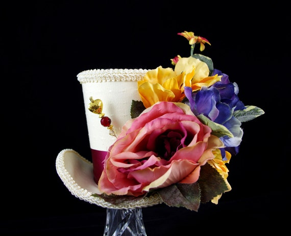 Burgundy, Yellow, Blue, and Cream Flower Garden Large Mini Top Hat Fascinator, Alice in Wonderland, Tea Party, Mad Hatter, Derby Hat