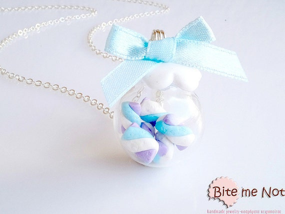 Baby Blue Marshmallows in Bottle Necklace - Miniature Food Necklace, Candy Necklace, Soft Candy Jewelry, Marshmallow Jewelry, Foodie Gift