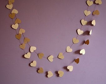 Heart garland, Wedding garland, Wedding decor, Wedding decoration, Rustic wedding garland, Brown kraft and ivory heart garland, KCO-3054