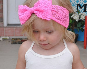 Neon Pink Lace Bow Headwrap - Stretch Lace Bow Headband - Katherine Bow