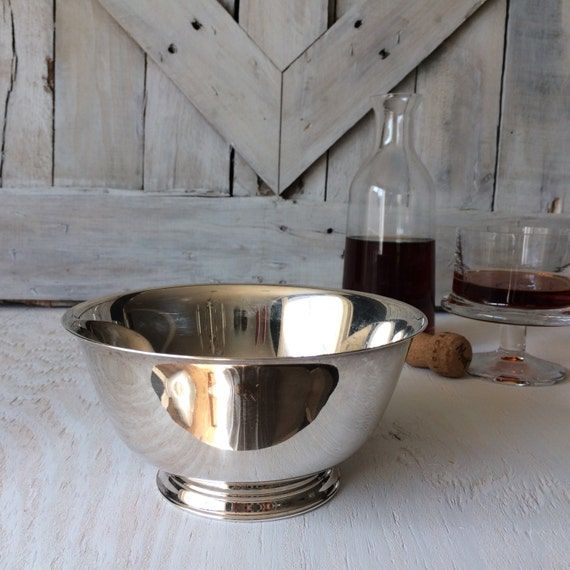 Vintage Silver Serving Bowl Oneida-Antique French Country Shabby Chic Farmhouse